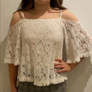 Lace cold shoulder shirt